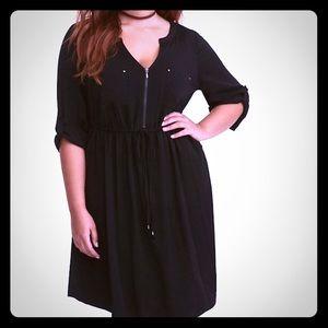 Black drawstring challis shirt dress